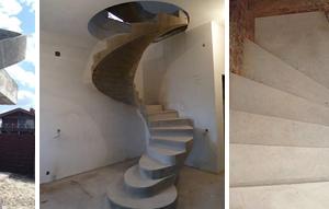Фото винтовых лестниц с опорной осью, круглой и прямоугольной формы