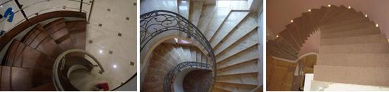 Спиралевидная лестничная конструкция остается элегантной, какой бы материал для облицовки ее ступеней не использовался: дерево, камень, ковролин