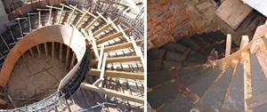 Фото основных этапов заливки монолита винтовой лестницы