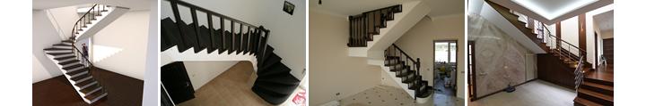Фото поворотных лестницы в больших и маленьких помещениях